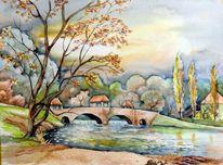 Palmgartenwehr, Aquarellmalerei, Landschaft, Leipzig