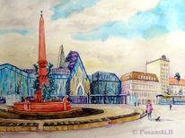 Leipzig, Augustusplatz, Aquarell, Aquarelle architektur