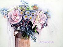 Blumen, Pfingstrosen, Sommerstrauß, Aquarell
