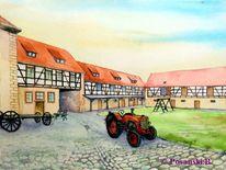 Traktor, Aquarell,