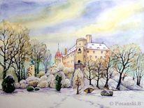 Winter, Schloss, Sachsen, Aquarell