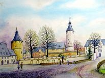 Schloss altenburg, Schloss, Aquarell, Aquarelle architektur