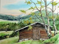 Schweiz, Aquarellmalerei, Landschaft, Hütte
