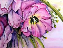 Blumen, Tulpen, Studie, Mischtechnik