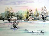 Winter, Spreewald, Winterlandschaft, Aquarell