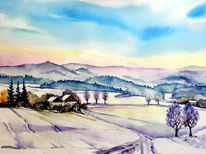 Landschaft, Winterlandschaft, Winter, Aquarell