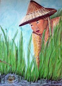 Reisfeld, Wasser, Birma, Frau