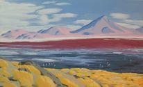 Flamingo, See, Bolivien, Malerei