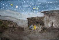 Heilige familie, Wüste, Nacht, Weihnachten