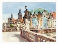 Desden, Zwinger, Schloss, Aquarell