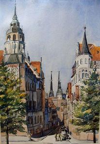 Rathausstraße, Aquarellmalerei, Halle, Aquarell