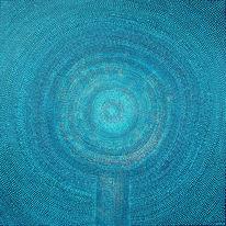 Dotpainting, Acrylmalerei, Türkis, Malerei