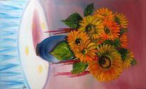 Sommer, Vase, Tischtuch, Blätter