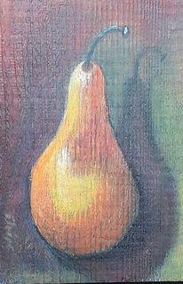 Birne, Holzbohle, Obst, Malerei
