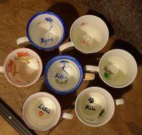 Tasse, Porzellan, Farben, Pinnwand