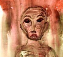 Sorge, Krankheit, Aquarellmalerei, Einsamkeit