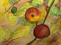 Herbstblätter, Blumen, Herbstfarben, Obst