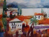 Süden, Meer, Aquarellmalerei, Italien