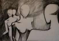 Kohlezeichnung, Fantasie, Zeichnung, Abstrakt