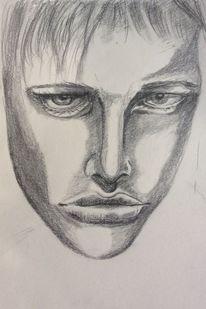 Portrait, Augen, Skizze, Zeichnung