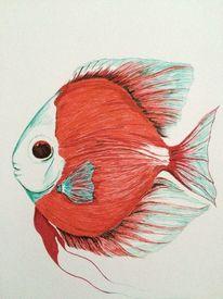 Skizze, Aquarium, Farben, Maritim