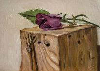 Blumen, Stillleben, Violett, Ölmalerei