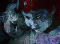 Portrait, Blau, Geschwister, Tusche
