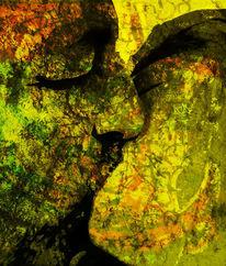Kuss, Gesicht, Textur, Portrait