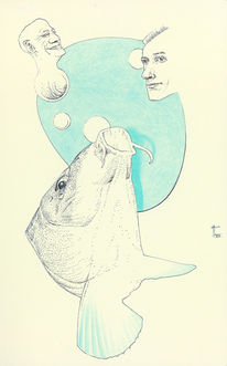 Blau, Kopf, Fisch, Illustrationen