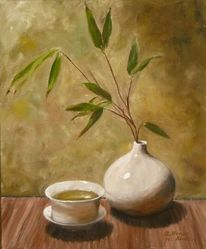 Stillleben, Tasse, Vase, Tee