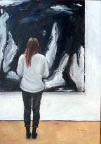 Bluse, Schwarz weiß, Ölmalerei, Frau