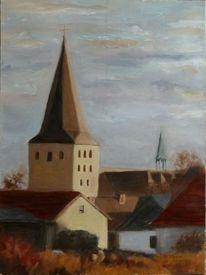 Ölmalerei, Stadtlandschaft, Blau, Herbst