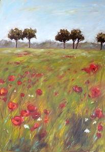 Blumen, Ölmalerei, Wiese, Gras