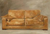 Sitzen, Schlaf, Braun, Ölmalerei