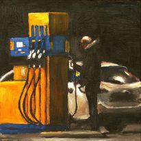 Fahrer, Ölmalerei, Tanken, Schwarz