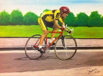 Radrennen, Mann, Fahrrad, Grün