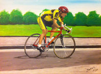 Fahrrad, Grün, Bein, Acrylmalerei