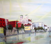 Passau inn fluss, Dach, Stadtansichten, Architektur