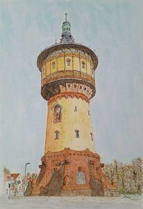 Saale, Zeichnung, Wasserturm, Tinte