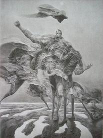 Zeichnung, Surreal, Gott, Welt