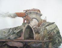 Steampunk nautik landschaft, Malerei
