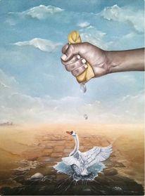 Wüste, Wasser, Hand, Schwan