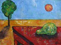 Malerei, Tisch, Birne