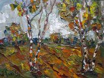 Malerei, Birken, Herbstlandschaft