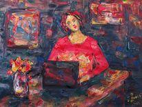 Malerei, Mädchen, Computer