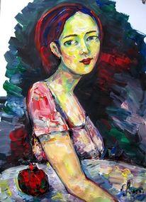 Malerei, Mädchen, Granatapfel