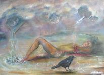 Ölmalerei, Himmel, Akt, Wasser