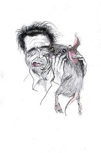 Mann, Ratte, Zeichnung, Zeichnungen