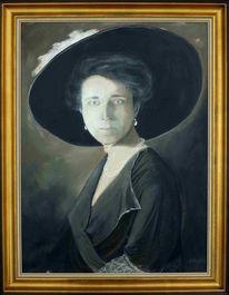 Portrait, Dame, Hut, Adel