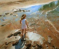 Realismus, Kind, Strand, Blau